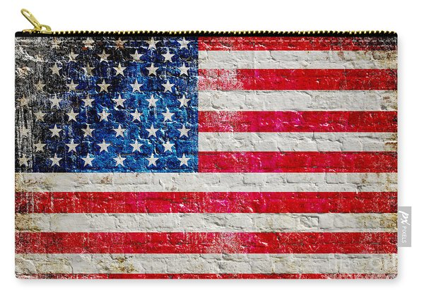 Distressed American Flag On Old Brick Wall - Horizontal Carry-all Pouch