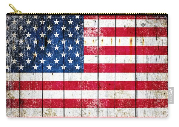 Distressed American Flag On Wood Planks - Horizontal Carry-all Pouch