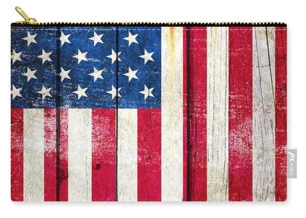 Distressed American Flag On Wood - Vertical Carry-all Pouch