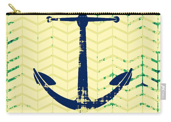 Distressed Navy Anchor Carry-all Pouch