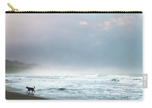 Dog On A Costa Rica Beach Carry-all Pouch