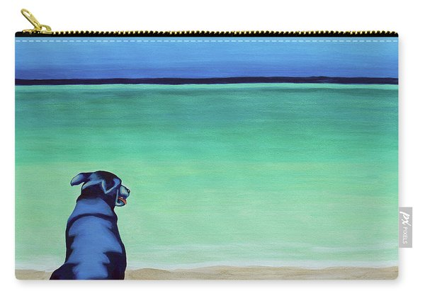 Black Lab Dog On The Beach Carry-all Pouch