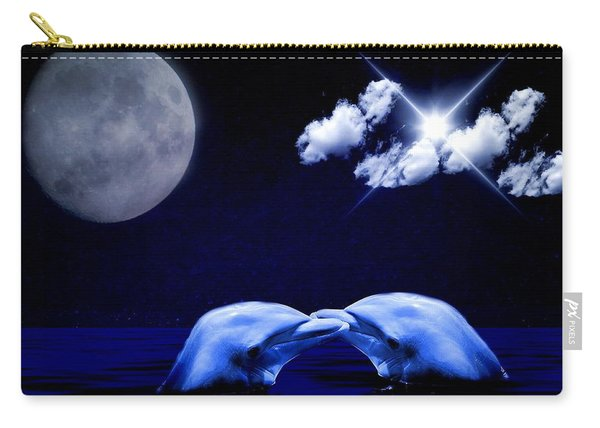 Dolphin And Moon Carry-all Pouch