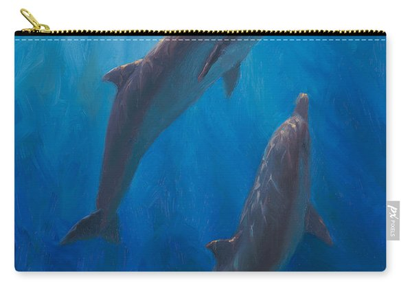 Dolphin Dance - Underwater Whales - Ocean Art - Coastal Decor Carry-all Pouch