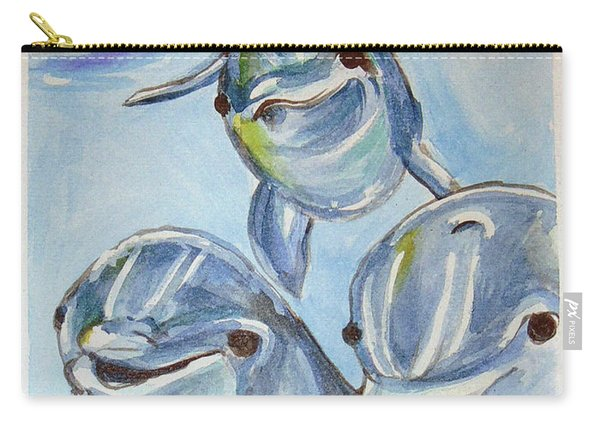 Carry-all Pouch featuring the painting Dolphins by Loretta Nash