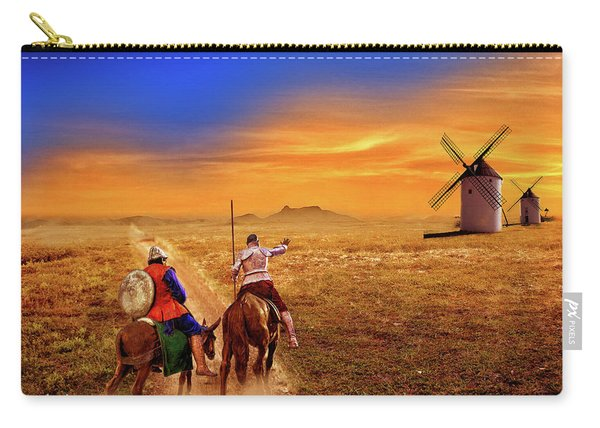 Don Quixote And The Windmills Carry-all Pouch