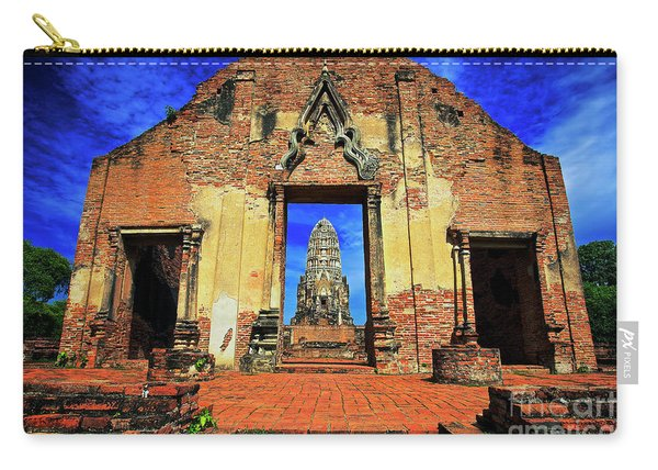 Carry-all Pouch featuring the photograph Doorway To Wat Ratburana In Ayutthaya, Thailand by Sam Antonio Photography