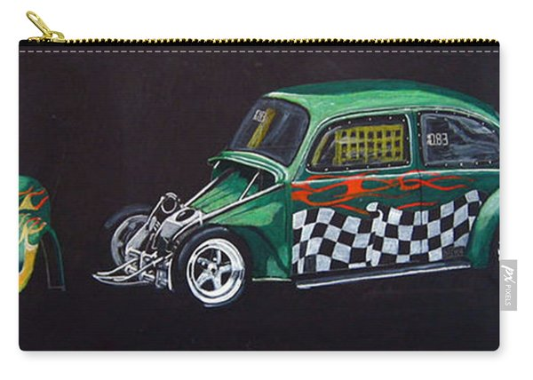 Carry-all Pouch featuring the painting Drag Racing Vw by Richard Le Page