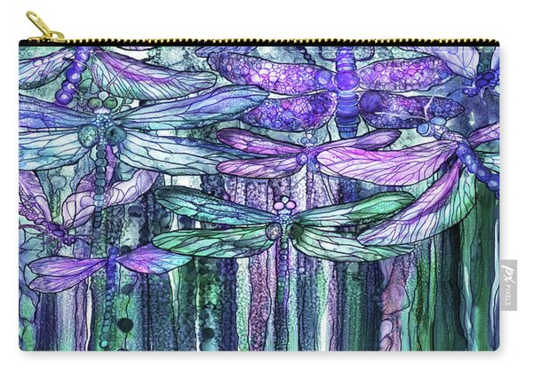 Dragonfly Bloomies 4 - Lavender Teal Carry-all Pouch