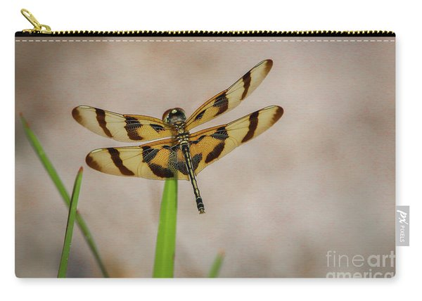 Carry-all Pouch featuring the photograph Dragonfly On Grass by Tom Claud