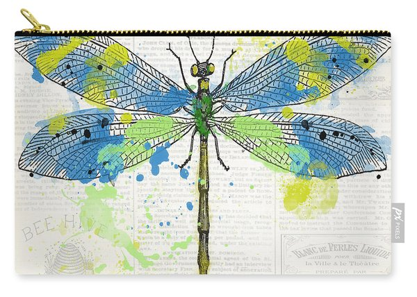 Dragonfly On Newsprint-jp3452 Carry-all Pouch