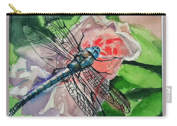 Dragonfly On Rose Carry-all Pouch