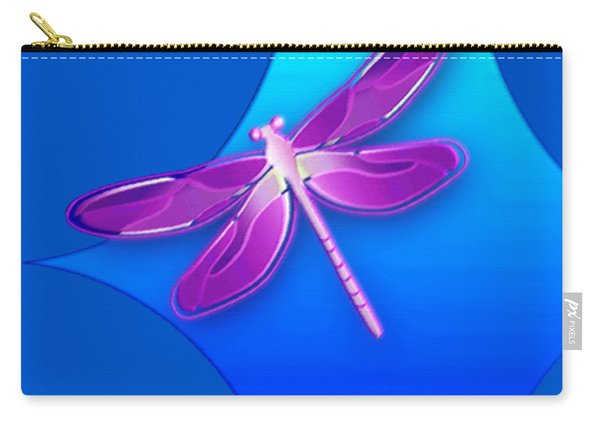 Dragonfly Pink On Blue Carry-all Pouch