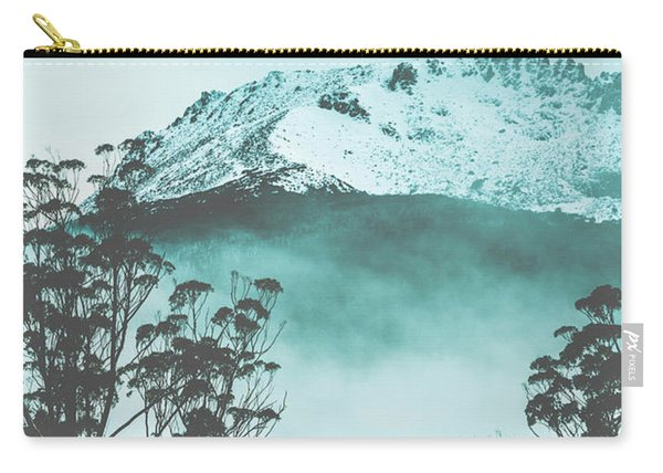 Dramatic Dark Blue Mountain With Snow And Fog Carry-all Pouch