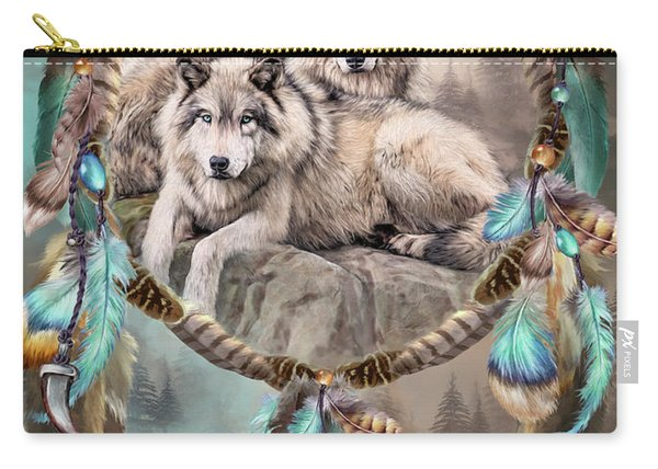 Dream Catcher - Two Wolves Together Carry-all Pouch