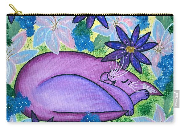 Dreaming Sleeping Purple Cat Carry-all Pouch
