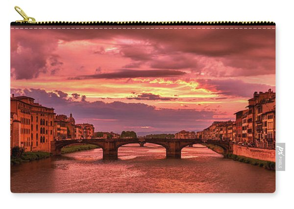 Saint Trinity Bridge From Ponte Vecchio At Red Sunset In Florence, Italy Carry-all Pouch