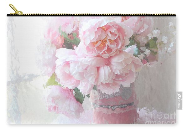 Dreamy Shabby Chic Romantic Pastel Pink Peonies Impressionistic Art - Paris French Peonies Photo Carry-all Pouch