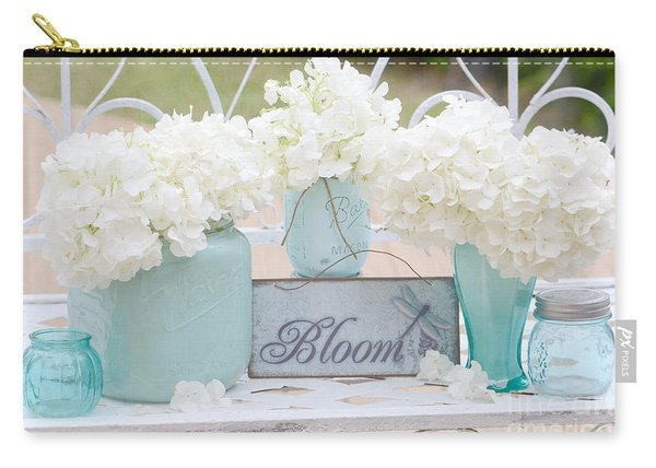 White Hydrangeas Cottage Decor- Shabby Chic White Hydrangeas In Aqua Blue Teal Mason Ball Jars Carry-all Pouch