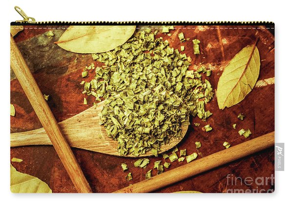 Dried Chives In Wooden Spoon Carry-all Pouch