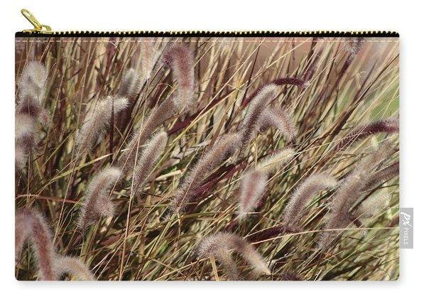 Dried Grasses In Burgundy And Toasted Wheat Carry-all Pouch