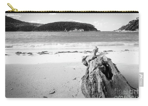 Driftwood On Beach Black And White Carry-all Pouch