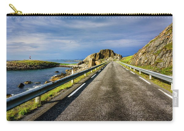 Carry-all Pouch featuring the photograph Driving Along The Norwegian Sea by Dmytro Korol