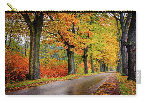 Carry-all Pouch featuring the photograph Driving On The Autumn Roads by Dmytro Korol