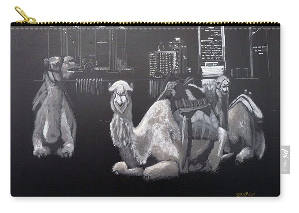 Carry-all Pouch featuring the painting Dubai Camels by Richard Le Page