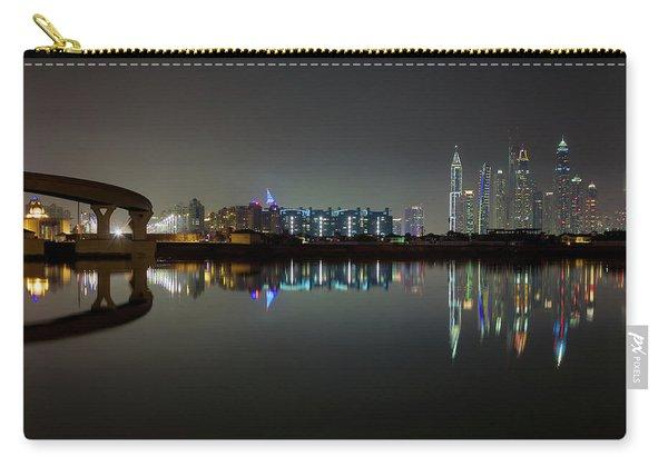 Dubai City Skyline Night Time Reflection Carry-all Pouch
