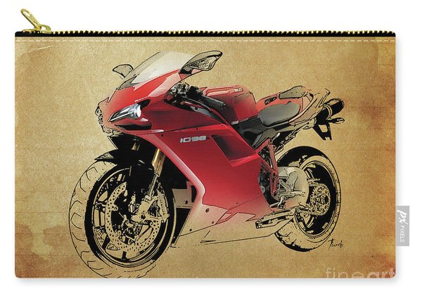Ducati 1098, Red Motorcycle, Vintage Background Carry-all Pouch
