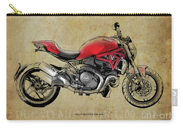 Ducati Monster 1200, 2014, Red Motorcycle, Gift For Husband, Gift For Bikers Carry-all Pouch