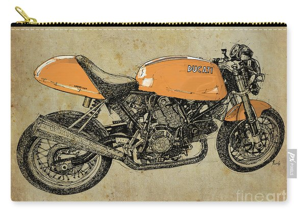 Ducati Orange Original Handmade Drawing, Vintage Brown Background, Gift For Bikers Carry-all Pouch
