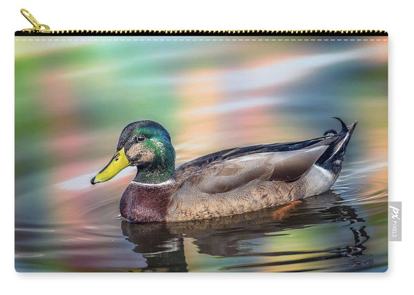 Duck In Water With Autumn Colors Carry-all Pouch