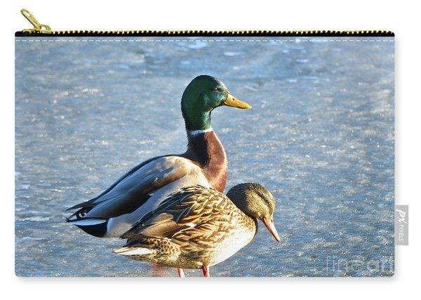 Duck Pair On Frozen Lake Carry-all Pouch