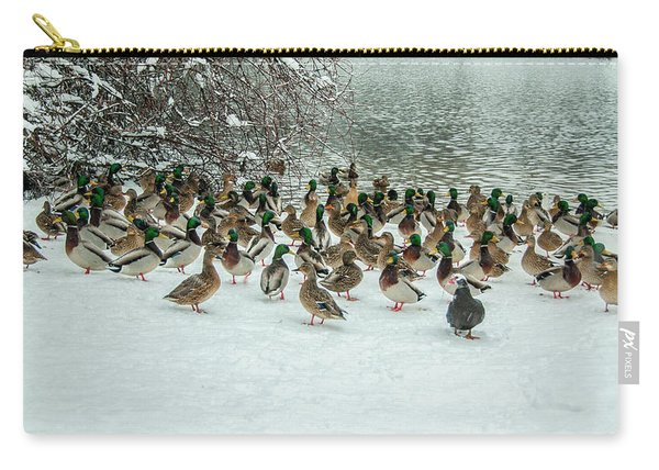 Ducks Pond In Winter Carry-all Pouch