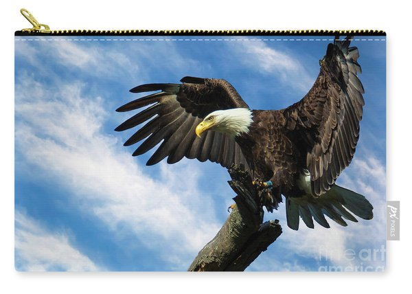 Eagle Landing On A Branch Carry-all Pouch