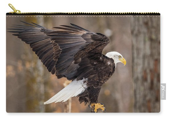 Eagle Landing On Perch Carry-all Pouch