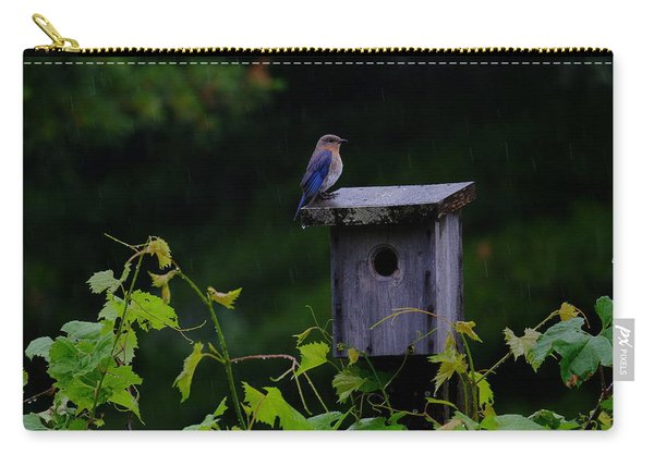 Eastern Bluebird In The Rain Carry-all Pouch