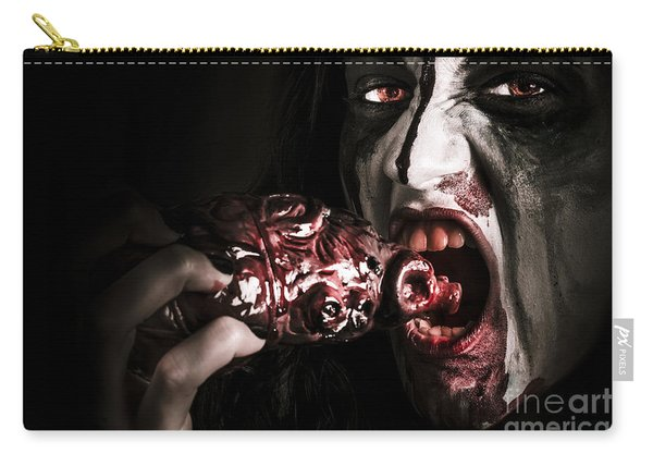 Eat Your Heart Out. Zombie Eating Bloody Heart Carry-all Pouch