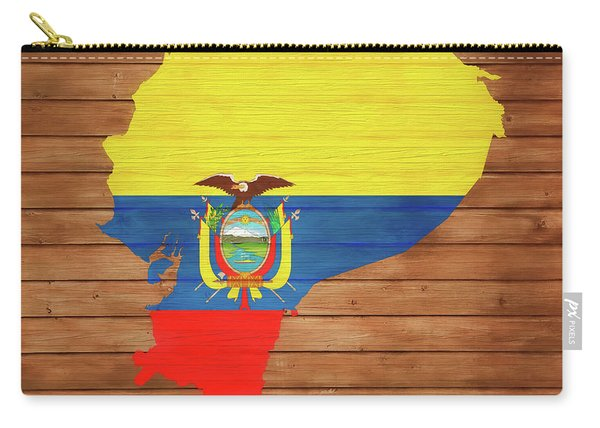 Ecuador Rustic Map On Wood Carry-all Pouch