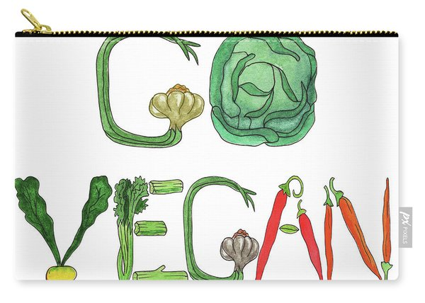 Editorial Illustration Go Vegan Carry-all Pouch