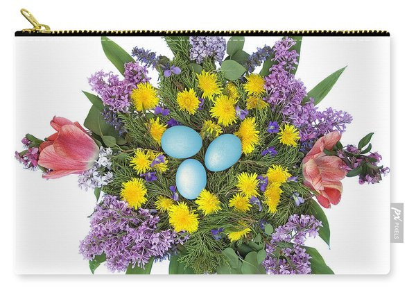 Eggs In Dandelions, Lilacs, Violets And Tulips Carry-all Pouch