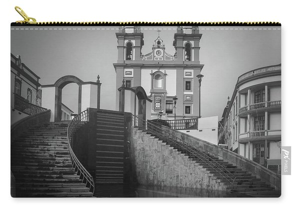 Egreja Da Mesericordia And The Gateway To Angra Do Heroismo In Black And White Carry-all Pouch