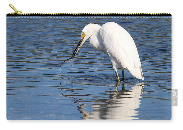 Carry-all Pouch featuring the photograph Egret Eating Eel 4 by William Selander