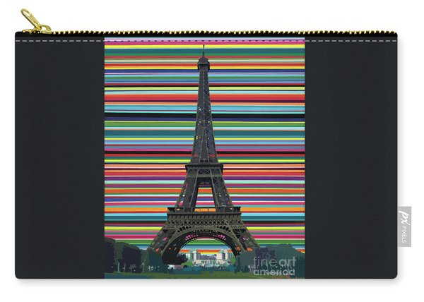 Carry-all Pouch featuring the painting Eiffel Tower With Lines by Carla Bank