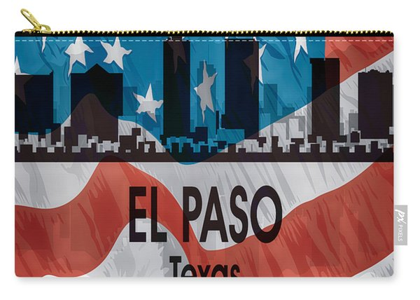 El Paso Tx American Flag Vertical Carry-all Pouch