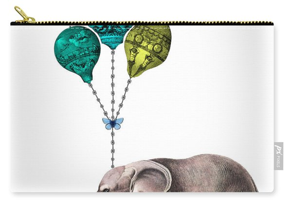 Elephant Holding Blue And Yellow Balloons Carry-all Pouch