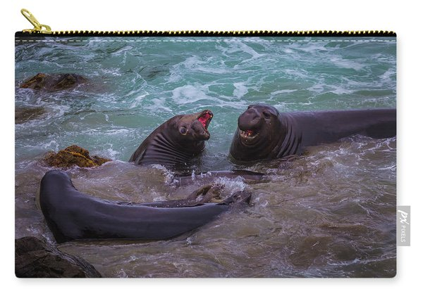 Elephant Seals In The Surf Carry-all Pouch