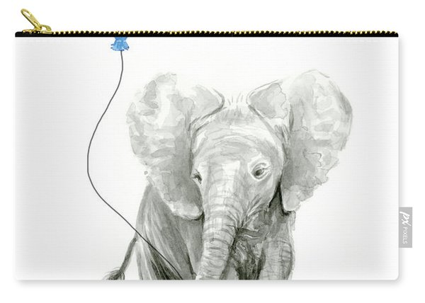 Elephant Watercolor Blue Nursery Art Carry-all Pouch